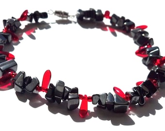 Black and Red Anklet Hematite Glass Star Wars Dark Side Jewelry