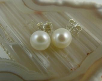 Genuine Pearl Stud Earrings / Pearl and Sterling Silver Stud Earrings