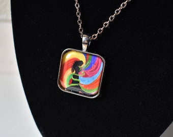 Handmade glass tile art pendant necklace with chain, Psychedelic Woman rainbow swirl gothic witch silhouette snake gothic