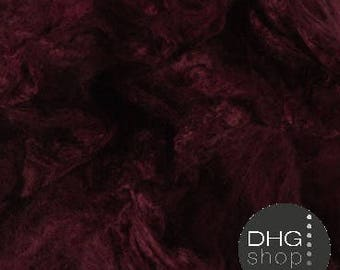 "Silk Hankies, ""Soft Fruits"" Burgundy Red, Mawata, Mulberry, for felting and spinning"
