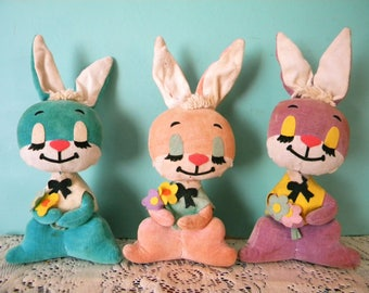 Vintage Set of 3 Dakin Dream Pets Easter Bunnies Pink Purple and Blue Bunny Rabbits