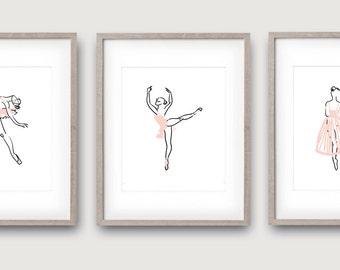 Pink Ballerina, Set of 3, Girls Ballet Decor, Girls Ballet Print, Ballerina Art, Blush Nursery, Ballerina Decor, Pink Ballet Decor