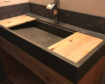 cement kitchen sink concrete wood planter bench 2049