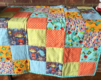 MOVING SALE - Baby or Toddler Quilt - Monsters Galore