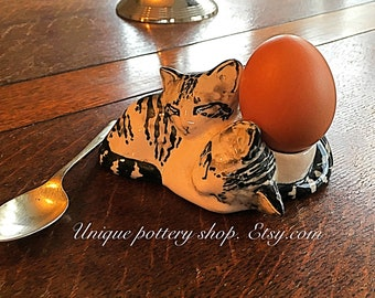 The cute kittens, English, vintage, unique, pottery egg holder