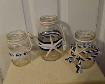3 Nautical Themed Decorative Mason Jar Centerpeices Or Aisle Ways - Perfect For Beach Wedding Centerpieces And Aisle Ways