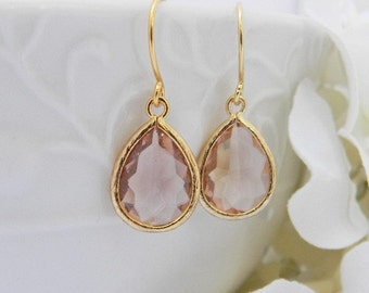 Peach Earrings - Champagne Earrings - Gold Bridesmaid Earrings -  Wedding  Earrings - Bridesmaid Gift - Dangle Earrings