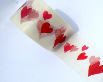 Hearts Washi Tape  - Paper Tape Great for Calendars Scrapbooking Paper Crafts Organizing -  Red Pink Hearts Valentines Day Love 30 mm x 7 m