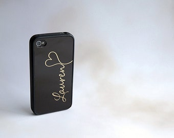 Black + Gold Monogram + Heart Custom iPhone Silicone Case