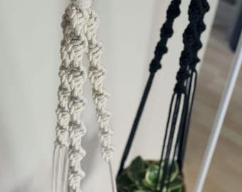 Macrame Spiral Plant Hanger | Black Rope | 3 Strand Indoor Hanging Planter | Plant Pot Holder | Boho Decor