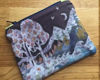 moon batik zipper pouch