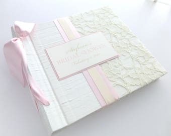 Personalized Baby Book / Lace baby book / Baby girl book / Ivory and Pink baby book / Baby Shower gift / Birth-12 months - 8x8 size