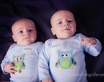 """Twin """"Who's Who"""" Owls bodysuits for Twin BOYS, handsewn unique twin gift for twin boys"""