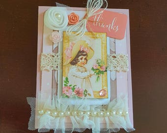Victorian Thank You Card * Shabby Thank You Card * Handmade Embellished Card