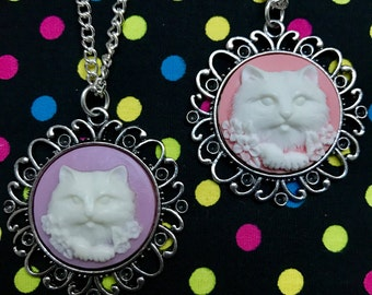 Kitty Cat Cameo Necklace- Choose Colour