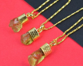 1 Pc Natural Lemon Quartz Raw Rough Gemstone Gold Plated Pendant