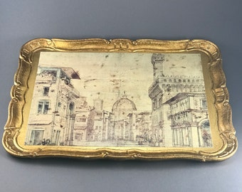 """Hollywood Regency Vintage Florentine Italian Tray, good distressed condition, size 17"""" x 13"""", Gold color with a scene of Florence,"""