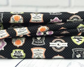 Halloween Fabric - Black Badge Fabric - Eek Boo Shriek - Riley Blake Designs - Skeleton Fabric - Black Fabric - Sold by Half Yard