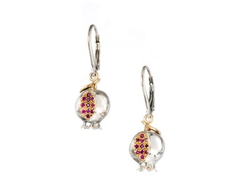 pomegranate earrings in 18k gold, sterling silver and rubies