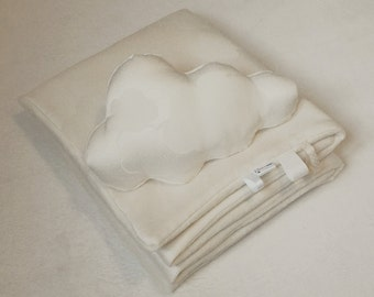 Baby blanket and his cloud mini-coussin coordinated cream/vanilla/off white
