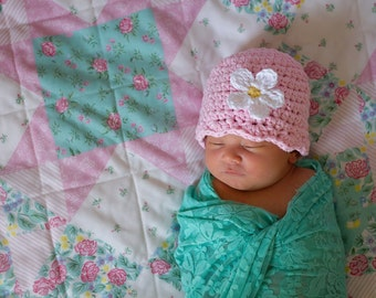 Light Pink Baby Hat Newborn Baby Girl Hat Crochet Flapper Beanie Light Pink Flower Hat Spring Photo Prop Baby Shower Gift Newborn Gift