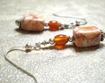 Carnelian dangle earrings - orange stone & redline marble earrings, natural stone jewelry, gemstone drop earrings, sterling earwires