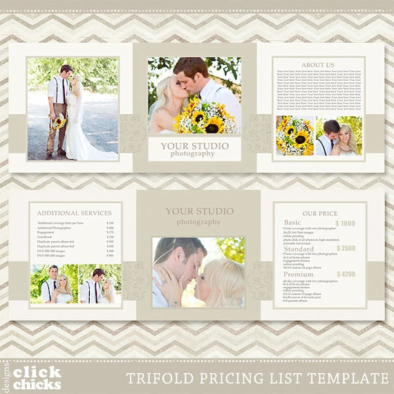 trifold pricing list template photography pricing guide