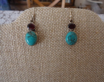 Vintage Turquoise and Garnet and Sterling Silver Pierced Wire Earrings