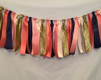 Satin Ribbon Garland/Coral Fabric Garland/Ribbon Backdrop/Tassel Garland/Coral Wedding Decor/Coral Ribbon Garland/Navy Ribbon Banner