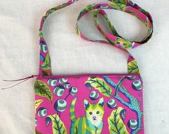 Tula Pink Disco Kitty Crossbody Purse, Shoulder Purse, Hipster Bag, Sling Bag