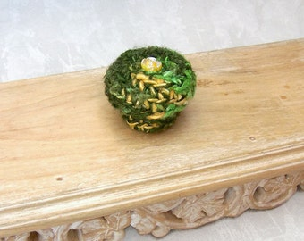 Mini Silk Basket - Unique Handmade Silk Tapestry Basket Embellished w/ Yellow Rose - Valentine's Day, Mother's Day, Wedding Anniversary Gift