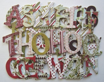 """FIGGY PUDDING - Christmas Chipboard Letters - Seasonal Alphabet  Die Cuts - 1.5"""" Tall"""