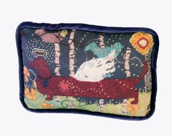 dachshund feather down pillow, needlepoint reproduction in cotton sateen
