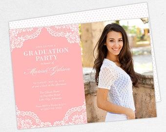 Graduation Invitation, Photo Graduation Invitation, Graduation Announcement, Printable, PDF, DIY, Printed, Lace Invite, Rustic, Pink, Mariah