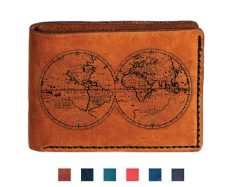 Adventure wallet etsy world map travel mens leather wallet world map wallet bifold wedding wallet engraved personalized custom wallet gumiabroncs Image collections
