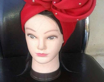 Stylish and Elegant HandMade Red Turban Hat