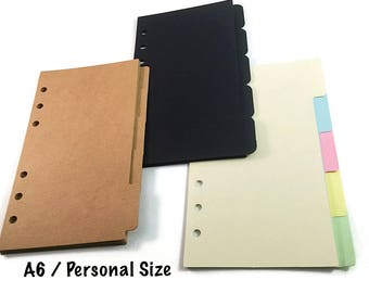 A6 Personal Size  Dividers with Tabs for Filofax Medium Kikki K Planner, Black, Brown Kraft Paper, SIDE TABS