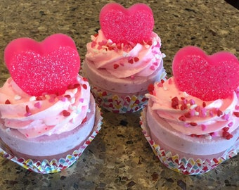 Valentine Bath Bomb Cupcake With Whipped Soap Frosting Customized Heart
