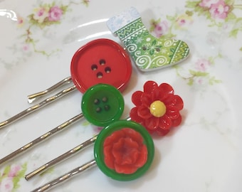 Christmas Bobby Pins, Green Stocking, Red Flower in Green, Vintage Buttons, Hair Pins Set, Holiday Bobby Pins by KreatedbyKelly