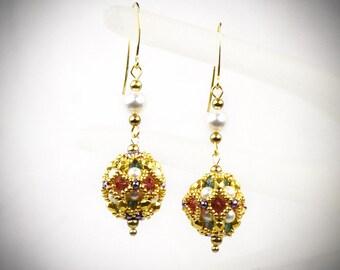 Dainty Ball Earrings - flapper costume - great gatsby jewelry - date night jewelry - Flapper Earrings 1920s Style Earrings Gatsby Earrings