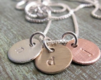 TINY Charm Necklace, Initials, Personalized, Hand Stamped, Minimalist, Simple, Everyday Necklace, Mother's Necklace