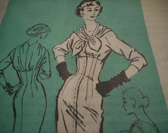 RARE Vintage 1950's Mail Order A623 Prominent Designer Original by Alan Phillips Dress Sewing Pattern Size 12 Bust 32