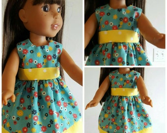 Wellie Wishers Doll Dress Yellow Polka Dot and Flowers