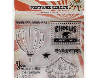 CAROUSEL VINTAGE CIRCUS STAMPs - SCRaPBERRY Stamp Set - Clear Stamps - Hard to Find !!