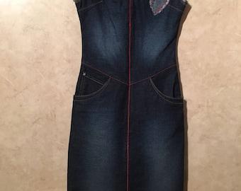 Womens Azzure Denim Jean Sleeveless V-Neck Dress Sz. XS
