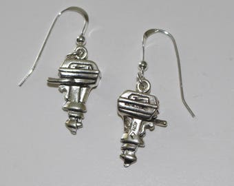 Sterling Silver 3D OUTBOARD ENGINE Earrings - Watersports, Fishing, Boat