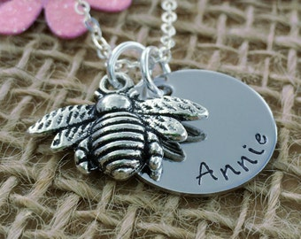 Personalised Gift for Women, Personalised , Mother's Day Gift, Bee Keeper Gift, Handmade Bee Necklace, Personalised Jewellery, Gift for Her