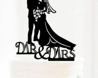 MR and MRS flowers cake toper