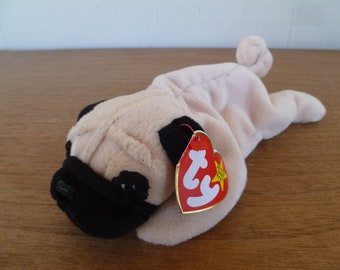 """Vintage Puppy Dog """"Pugsly"""" , Ty Beanie Baby Plush 1996 With Tag"""