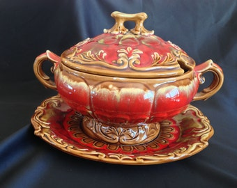 Vintage Red and Brown Majolica Soup Tureen with Underplate - Made in Japan